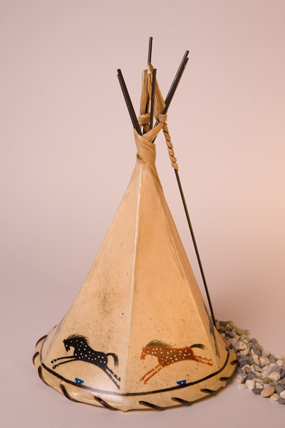 Appies  Painted Rawhide Teepee Lamp
