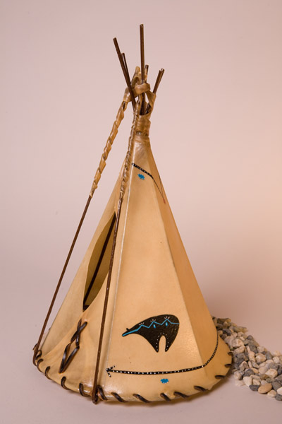 Bear Fetish Painted Rawhide Teepee Lamp