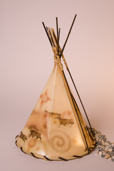 Elk Cave Art Painted Rawhide Teepee Lamp