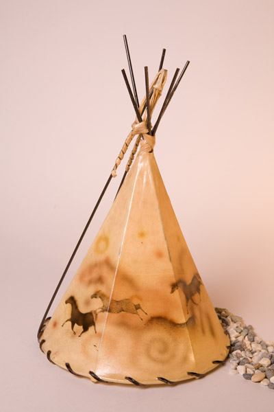 Horse Cave Art Painted Rawhide Teepee Lamp
