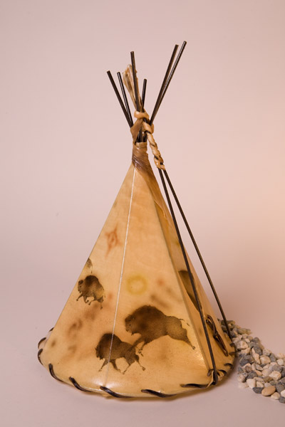 Buffalo Cave Art Painted Rawhide Teepee Lamp