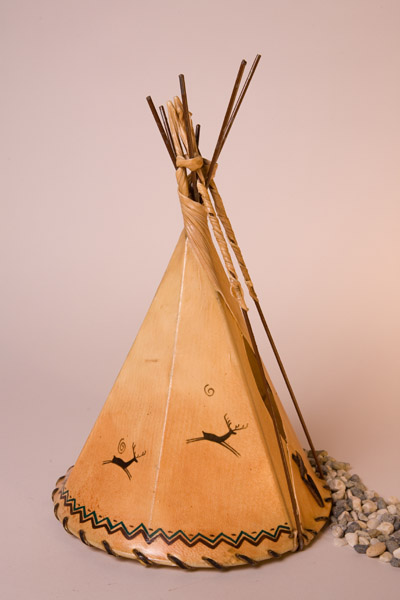 Deer Painted Rawhide Teepee Lamp