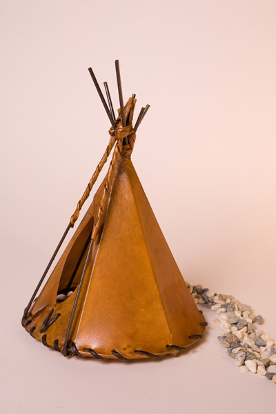 Medium Brown Dyed Rawhide Teepee Lamp