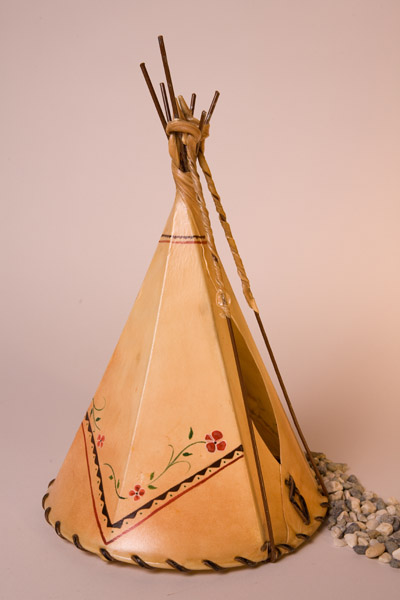 Floral Border Painted Rawhide Teepee Lamp
