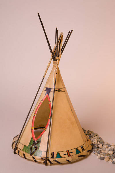 Ledger Art Border Painted Rawhide Teepee Lamp