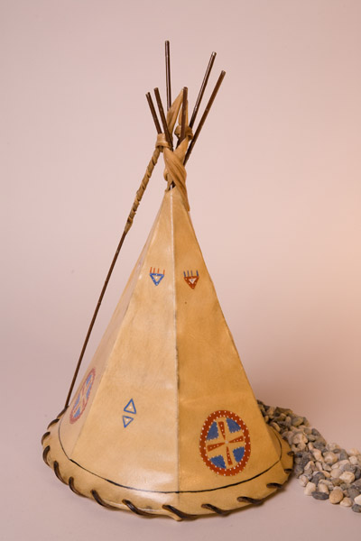 Medicine Shield Painted Rawhide Teepee Lamp